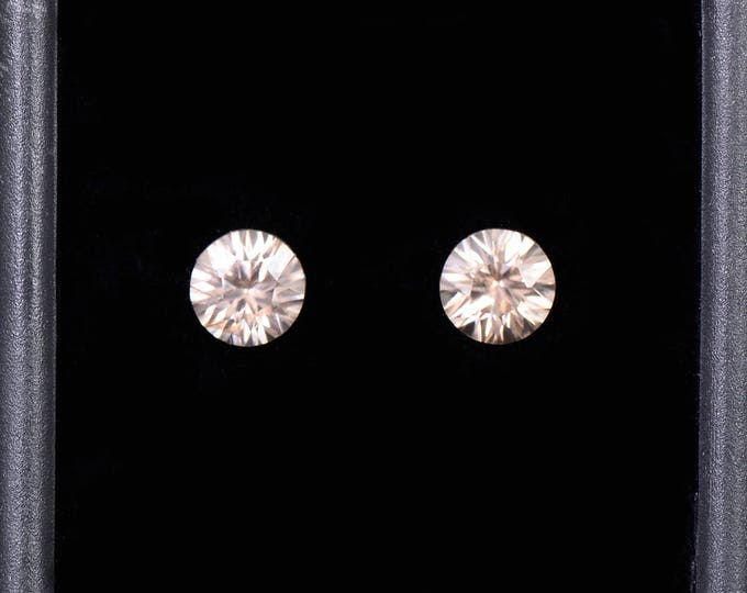 SALE EVENT! Beautiful Silvery Champagne Zircon Gemstone Pair, Concave Round Cut, 1.96 tcw., 5.5 mm.