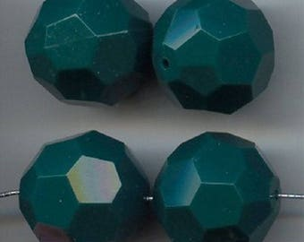 6 Vintage Hunter Green Faceted Acrylic 22mm. Round Beads 5481