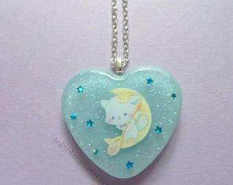 Kitty Prince Moon Heart Pendant  Necklace -Kawaii -Fantasy -Pastel Goth -Sweet Lolita-Fairy Kei -Lolita