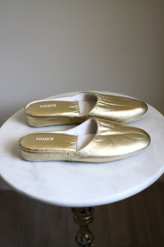 1980s gold slip ons // gold slippers // vintage slippers