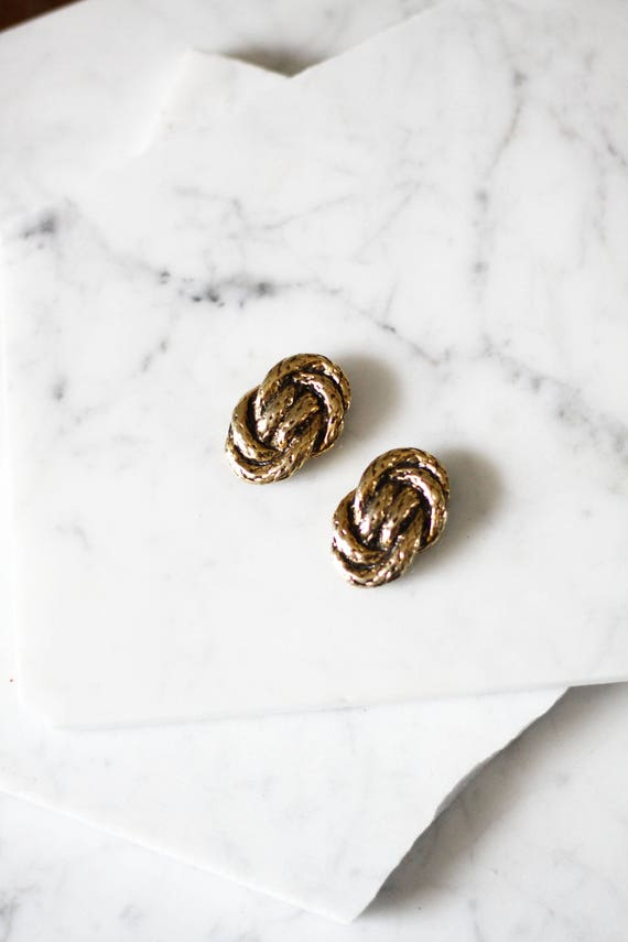 1960s gold rope shoe clips // 1960s shoe clips // vintage earrings