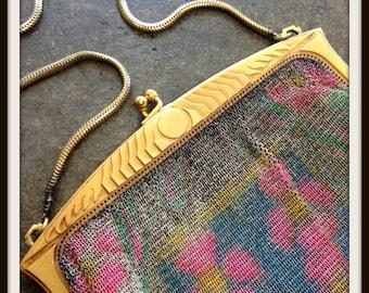 Vintage Whiting & Davis Handbag Dresden Design Mesh Pastel With Lining Art Deco 1920s FREE SHIPPING