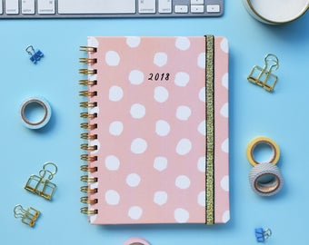 FREE SHIPPING Daily Planner 2018 | 12 Months Planner | Choose your start month | Blush pink polka dots design