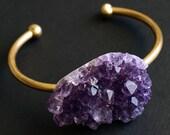 Raw Amethyst Cluster Bangle, Amethyst Bracelet