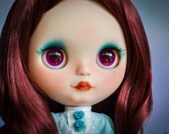 OOAK Custom FBL Blythe Doll Hybrid – With Mid Length Burgundy Hair – Azura