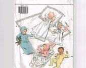 Infant Layette Christening Pattern, Baby Clothes Coming Home Outfit Newborn, Vintage Butterick 3317 dress gown blanket romper pajamas bonnet
