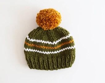Toddler Pom Pom Beanie, Pom Pom Hat, Baby Hat, Green, Gold and White baby Hat, Pompom hat, Striped Knit Hat, Ready to Ship