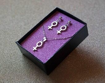 Girl Symbol Earring & Necklace Set / Feminist Earring and Necklace Set / Female Symbol Earrings / Venus Symbol Necklace