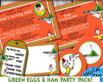 Dr. Seuss Photo Birthday Invite Thank You Card Dr. Seuss Inspired Green Eggs & Ham Party Package Invitation