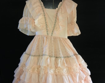 Peaches and Lace Square Dance Dress