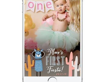 First Birthday Snapchat Geofilter, Baby Birthday Snapchat Filter, First Fiesta, Cactus Llama Theme Party, Cute Snapchat Geofilter Kid