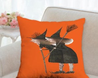 Two Halloween Witch's Designer Pillow  (Comes in two colors)