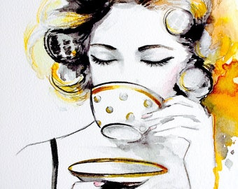Teatime Art Print  from Watercolor Illustration by Lana Moes -  Fashion Painting - Fashionista Home Decor - Yellow Gold Art