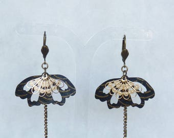 """Earrings mid-length """"Butterfly"""" - Japanese fabric black and gold"""