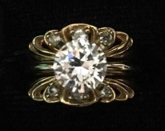 Vintage Cubic Zirconia Ring Set (Wedding Set 2 rings) (ABX1B)