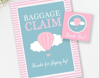 Baggage Claim Sign, Birthday Favor Tags, Hot Air Balloon Birthday, Baby Shower Decor, Travel Theme Birthday, INSTANT DOWNLOAD, #65