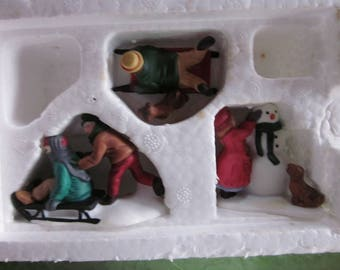 "Vintage Department 56 ""Snow Children"" Set of 3 Hand Painted Porcelain Accessories Heritage Village Collection Christmas w/Box # 5938-2"