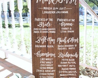 Large Wedding Program Sign Wooden Signs Party Ceremony