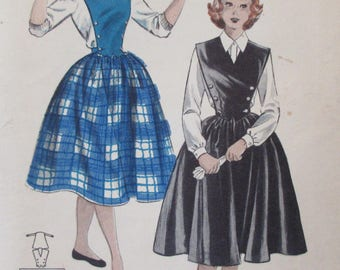 Vintage 1950s  Butterick Teen Age Quick N Easy Separates Sewing Pattern #6643   Size 14