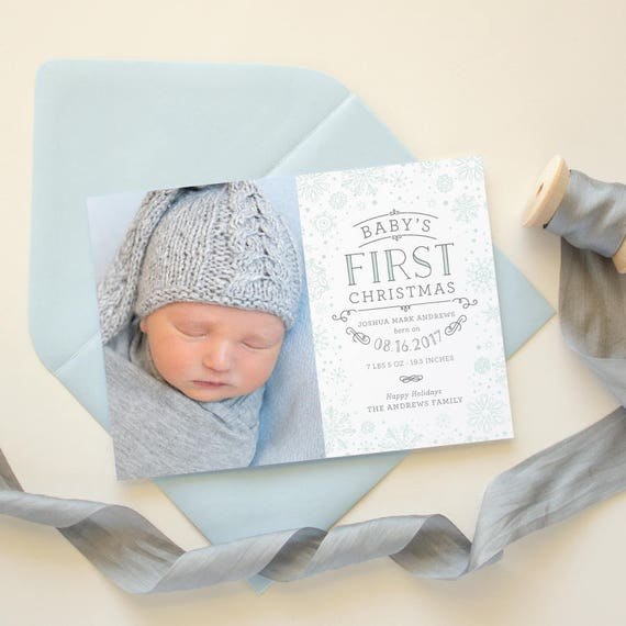 Baby's First Christmas Card, Holiday Photo Cards, Birth Announcement Christmas Photo Card, 5x7 Holiday Card Birth Announcement