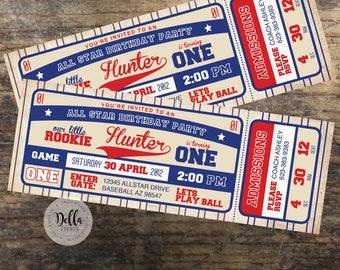 Baseball Invitation, Baseball Birthday Invitation, Baseball invite Baseball Ticket Invitation Baseball Birthday Baseball Party Little Rookie