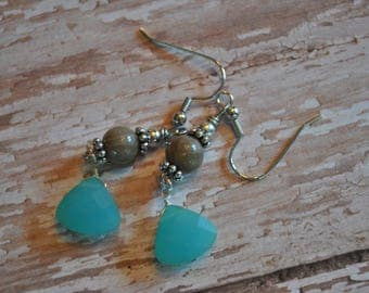 Petoskey stone bead and opaque faceted blue beach glass earrings, Up North Michigan, Lake Michigan