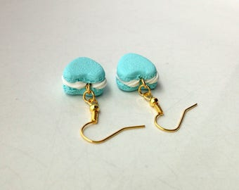 French Macaron Earrings Polymer Clay Miniature Food Jewelry [Jewellery] Food Earrings Macaron Earrings Food Gift Accessories Blue Gold Aqua
