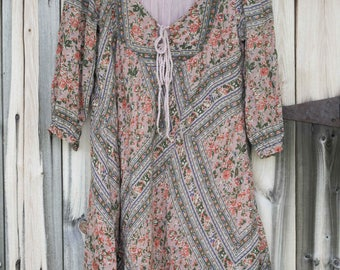 Adorable Vintage Cotton Indian Gauze Bibbed Dress with Tassels