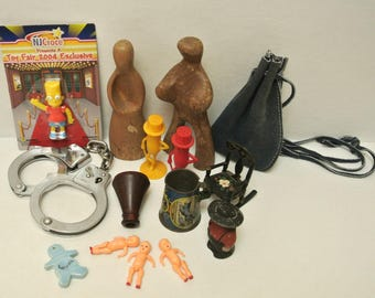 Lot of 13 Mixed Small Vintage Toys Spanning Different Eras Instant Toy Collection Salt & Pepper Shakers Jacks Handcuffs Dollhouse Souvenirs