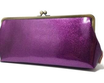 Purple retro rockabilly clutch purse glitter vinyl pin up 1950s evening bag Handmade kiss lock clasp vintage inspired