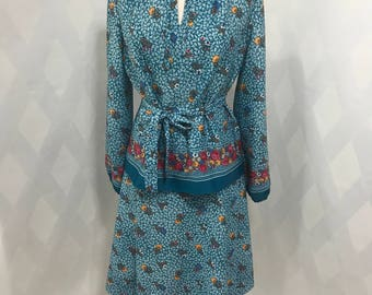 Vintage 1970s Two Piece Montgomery Ward Teal Peasant Tunic Top and A Line Skirt