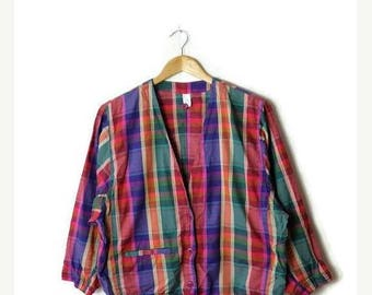 ON SALE Vintage Colorful Checked/Plaid Cotton Cardigan from 1980's*