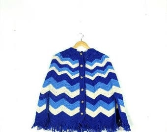 ON SALE Vintage  Blue x white Stripe Acrylic Cape/Poncho from 1970's*