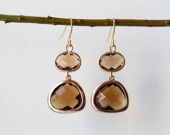 Smoky Quartz Earrings - Gold Dangle Earrings - Stone Earrings - Drop Earrings - Earrings - Brown Quartz Jewellery - Quartz Earrings