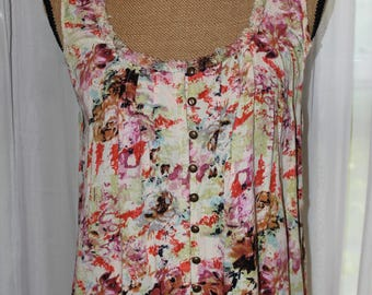 Vintage 90's Abstract Floral Print Top With Lace From Angie