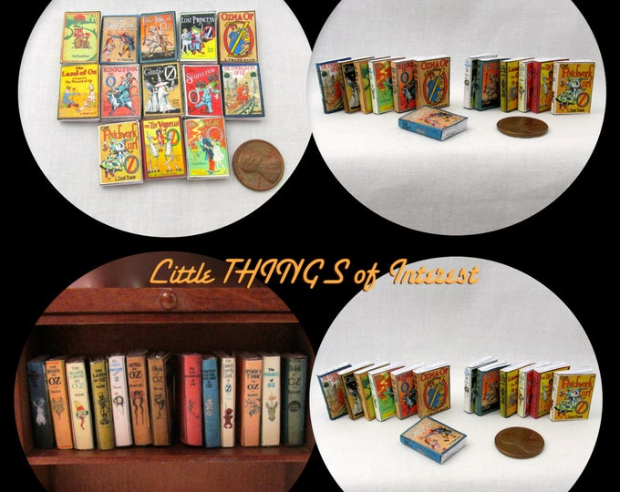 Miniature Books One Twelfth Scale Tiny Books Nursery 12th Scale 13 LAND OF OZ Dollhouse 1:12 Scale Books Wizard of Oz Prop Faux Books