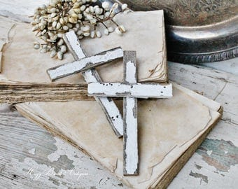Salvage Barn Wood CROSS Reclaimed White Chippy Paint Farmhouse Decor Architectural Fixer Upper Decor