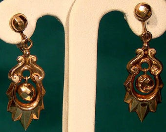 Victorian 12K Rose Gold Drop Earrings 1900