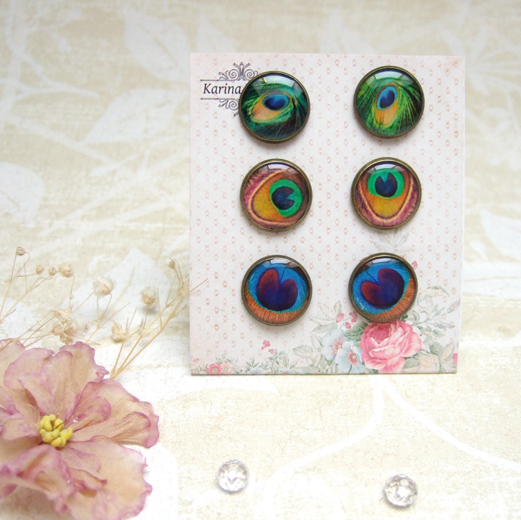 peacock boho stud brass epoxy p post feather resin il round antique colours earrings rainbow fullxfull