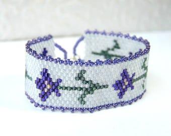Size Small Bracelet Purple Iris Bracelet Flower Bracelet Iris Jewelry, 6 Inch Bracelet Cuff Woven Seed Bead Jewelry Gifts for Gardeners