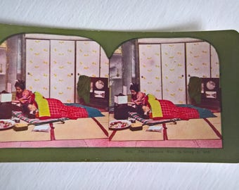 Goodnight Geisha Sleepover Antique Stereopticon Stereoscope Stereo Viewer Slide Card --- Vintage Japanese Culture Asia History Photograph