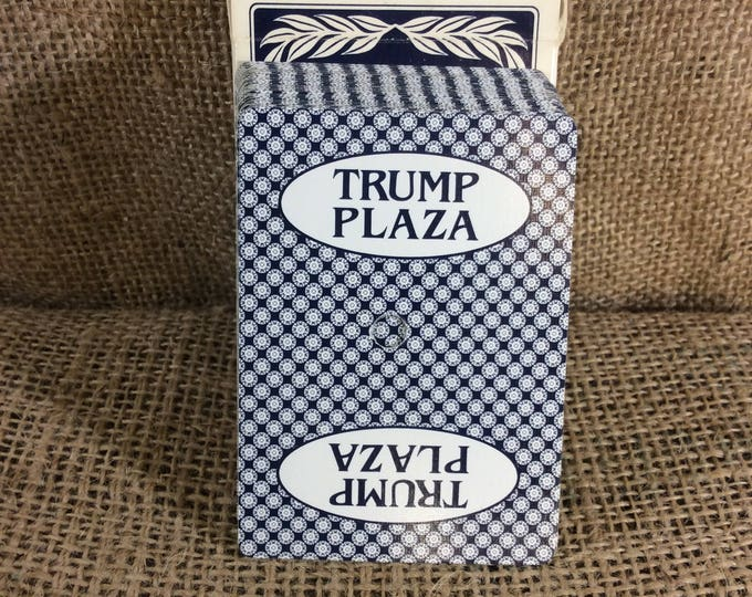 Vintage Trump Plaza casino hotel cards, President Trump and Trump casino playing cards, used, hole punched Trump Plaza playing cards