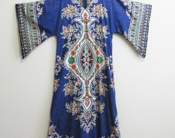 Hippie Tribal Blue Dress DRAMATIC Boho Goddess Dress Large XL 100% cotton