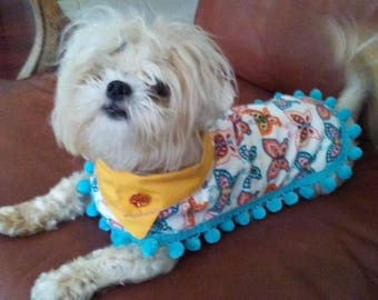 Butterflies Custom, Quality Dog Coat: Reversible, Poncho-Inspired Dog Apparel for all Seasons