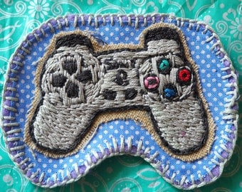 Hand Sewn Sony Playstation 1 Controller Embroidery Patch