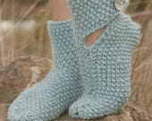 100% Wool Ladies Slipper Socks - Gorgeous Moss Stitch pattern - Great gift for any occasion - Handmade with love...
