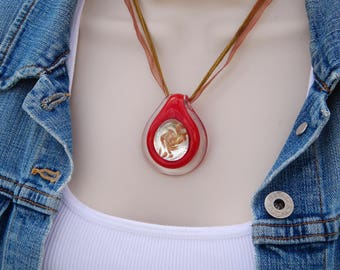 Vintage Red and Gold Art Glass Pendant Necklace, Statement Necklace, Summer Jewelry