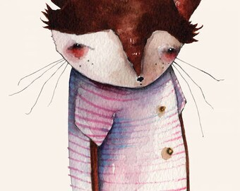 Nightcap Nicholas - 5 x 7 inch print - sleepy fox, watercolor illustration