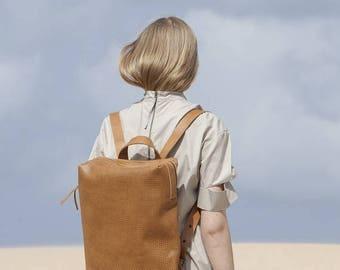 Sale, Leather Backpack Bag, Camel Brown Leather Travel Bag, Women Large Satchel with Top Handle , Rucksack Leather Bag - Brown Bristol