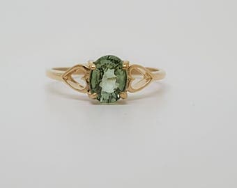 Mozambique Paraiba Tourmaline .83ct  10kt Yellow Gold Heart Ring Size 5.75